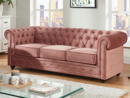 3-Sitzer-Sofa Chesterfield Samt ANNA - Rosa - Vorschau 1