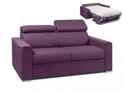 Schlafsofa 2-Sitzer Stoff VIZIR - Violett - Liegefläche: 120 cm - Matratzenhöhe: 14cm