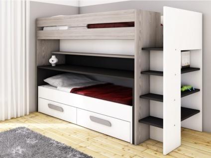 Etagenbett mit Stauraum & ausziehbarem Schreibtisch DAVID - 90x190/90x200cm