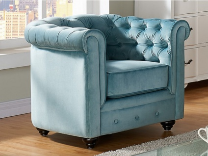 Chesterfield Sessel Samt ANNA - Blau 1