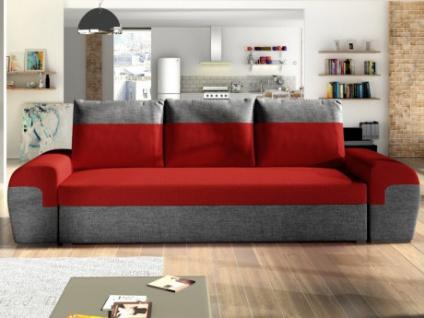 3-Sitzer-Sofa mit Bettfunktion Stoff GABY - Rot/Anthrazit