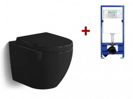 Wand WC Keramik Kenji - Schwarz + Wand WC Element Tobi