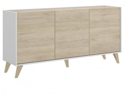 Sideboard KOLYMA - 3 Türen - Eiche & Weiß