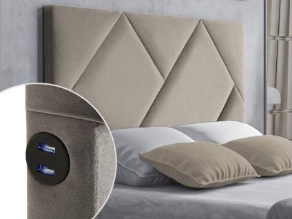 Bett-Kopfteil mit USB-Anschlüssen KANDRA - 140 cm - Samt - Beige