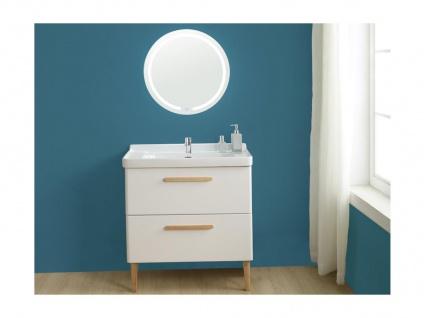 Komplettbad VATINE - Unterschrank + Waschbecken + Spiegel - Weiß