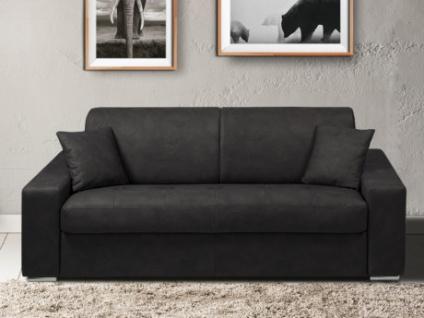 Schlafsofa 3-Sitzer Stoff EMIR - Anthrazit - Liegefläche: 140cm - Matratzenhöhe: 18cm