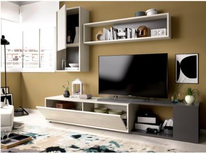 TV-Wand TV-Möbel mit Stauraum GAMBIE - Modulierbar - Anthrazit/Eichenholzfarben - Vorschau 4