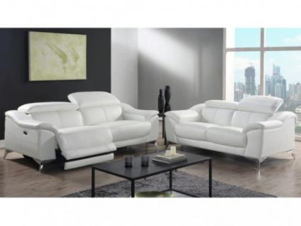 Relaxgarnitur Leder elektrisch DALOA 3+2 - Weiß