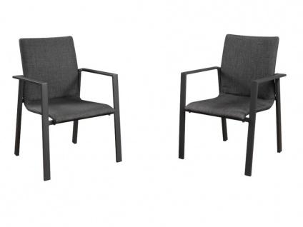 Gartensessel stapelbar 2er-Set ILONI - Aluminium & Textilene - Anthrazit