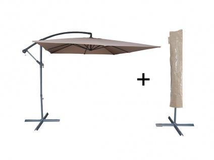 Sonnenschirm höhenverstellbar mit Fuß Capelina - D. 250 cm - Taupe + Schutzhülle