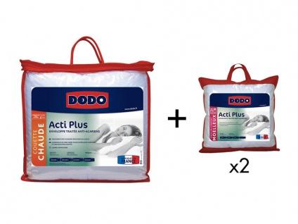 Sparset DODO: Bettdecke 220 x 240 cm + 2 Kopfkissen antiallergen ACTI PLUS II 65 x 65 cm