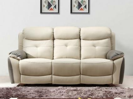 Relaxsofa 3-Sitzer Leder LUGO - Anthrazit/Taupe