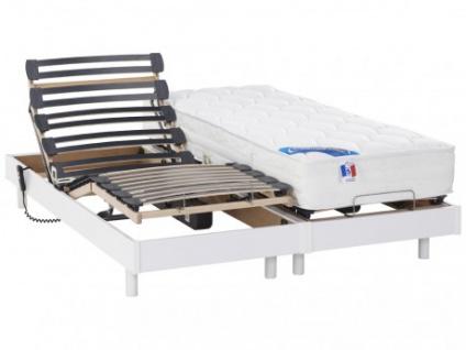 Matratzen elektrischer Lattenrost 2er-Set mit Motor Apollo - 2x 80x200cm - Weiß
