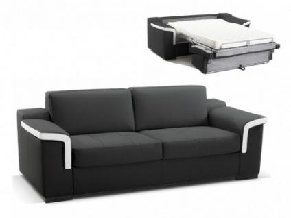 Ledersofa Schlafsofa mit Matratze 3-Sitzer Hippias II - Luxusleder - Schwarz & Weiß
