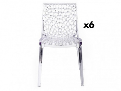 Stuhl 6er-Set Diadem - Polycarbonat - Transparent