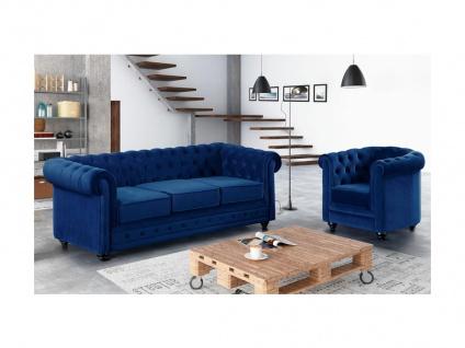 Couchgarnitur 3+1 Samt Chesterfield ANNA - Dunkelblau