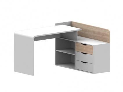 Eckschreibtisch DECLAN II - Holz (MDF) - 3 Schubladen & 2 Ablagen - Weiß & Eichefarben