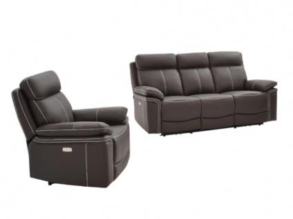 Relaxsofa elektrisch Garnitur 3+1 ISIRIS - Leder - Braun