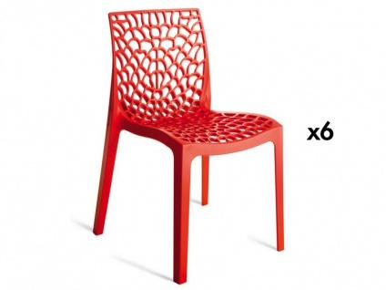 Stuhl 6er-Sets Diadem - Kunststoff - Rot