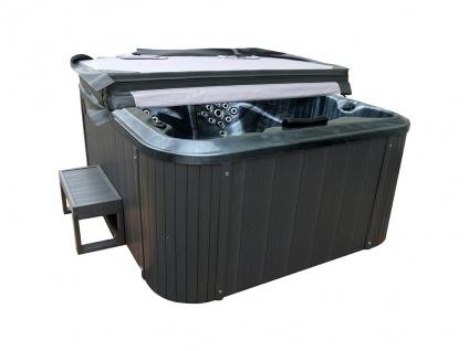 Whirlpool 3 Personen FIDJI V + Abdeckung & Treppe - B200 x T160 x H80 cm - BALBOA-System - Anthrazit