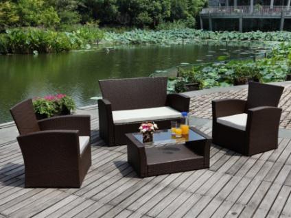 Polyrattan Lounge Sitzgruppe Arequipa (4-tlg.) - Braun