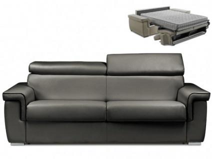 Schlafsofa 4-Sitzer ALTESSE - Anthrazit mit Ziernaht Schwarz - Liegefläche: 160cm - Matratzenhöhe: 18cm