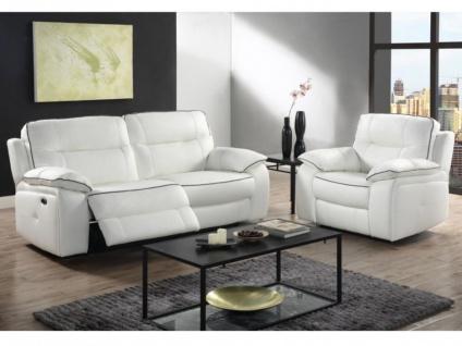Relaxgarnitur 3+1 elektrisch CATANE - Leder - Weiß