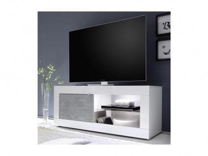 TV-Möbel mit LED-Beleuchtung COMETE - 1 Tür & 1 Ablage - Weiß lackiert & Betonfarben