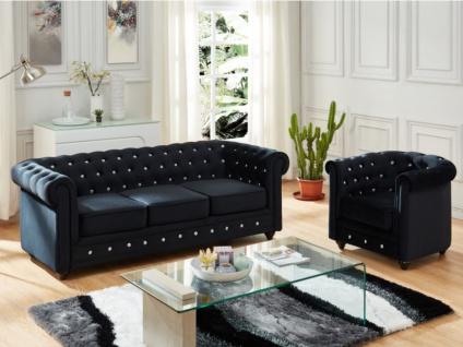 Couchgarnitur 3+1 Samt Chesterfield ANNA - Schwarz mit Kristallknöpfen