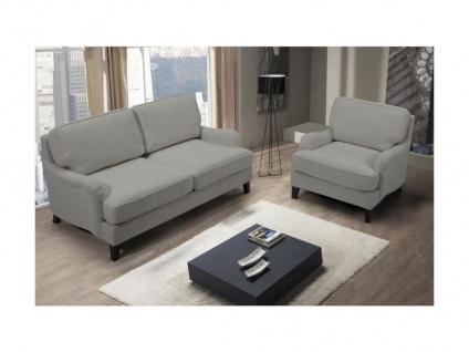 Couchgarnitur 2+1 MOANDA - Stoff - Grau