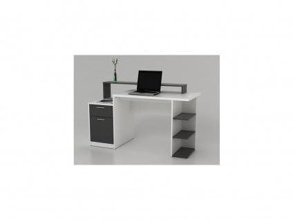 Schreibtisch mit Stauraum ZACHARIAS III - Weiß & Grau