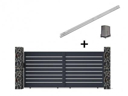 Gartentor Schiebetor PRIMO - Aluminium - mit Torantrieb - B350 x H176 cm