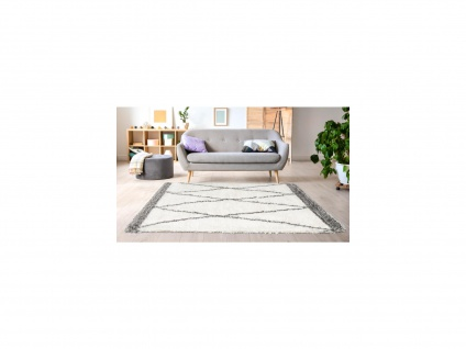 Hochflorteppich Berber-Stil HANIA - 160 x 230 cm - Beige & Grau