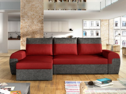 Ecksofa mit Bettfunktion Stoff GABY - Rot/Anthrazit