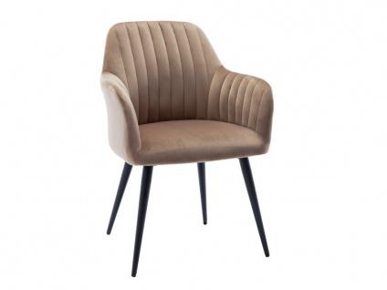 Stuhl mit Armlehnen ELEANA - Samt & Metall Schwarz - Beige