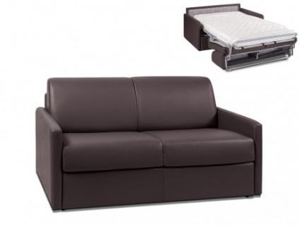 Schlafsofa 2-Sitzer CALIFE - Braun - Liegefläche: 120 cm - Matratzenhöhe: 14cm