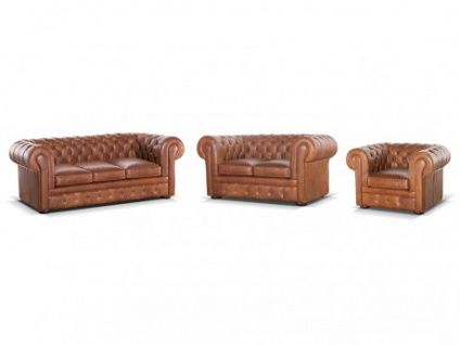 Chesterfield Ledergarnitur mit Bettfunktion & Matratze London 3+2+1 - Vintage Look