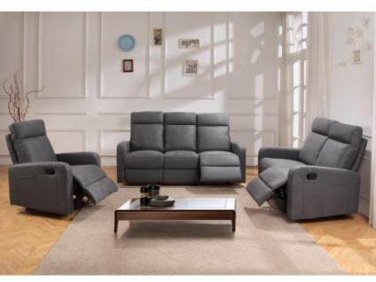 Couchgarnitur Relax Stoff 3+2+1 CARLINA - Anthrazit