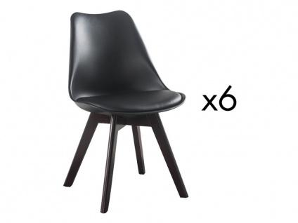 Stuhl 6er-Set JODY - Polypropylen & Nussbaumholz - Schwarz
