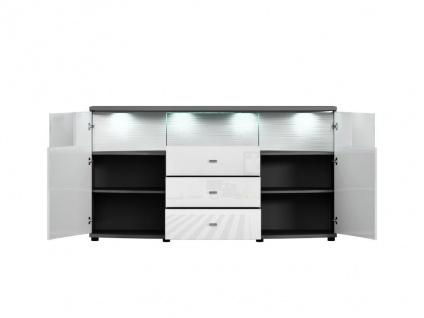 Sideboard mit LED-Beleuchtung SALY - 3 Schubladen & 2 Türen - Weiß - Vorschau 5