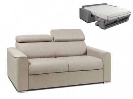 Schlafsofa 2-Sitzer Stoff VIZIR - Beige - Liegefläche: 120cm - Matratzenhöhe: 18cm
