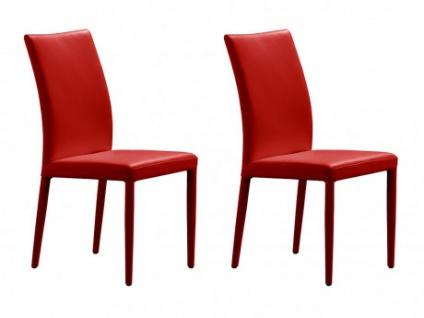 Stuhl Leder 2er-Set Atalante - Rot