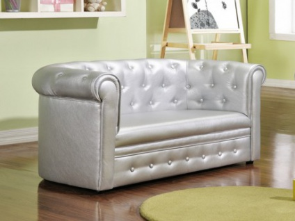 Chesterfield Kindersofa Tiana - Silber