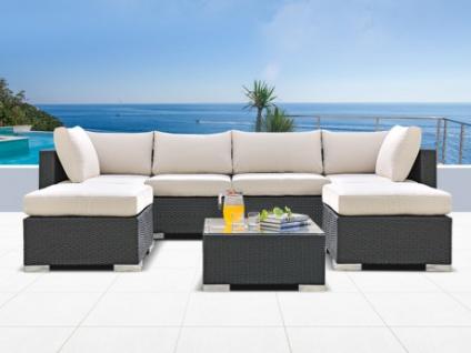 Polyrattan 4-Sitzer Alanda mit Gartentisch und 2 Hockern - Anthrazit & Beige