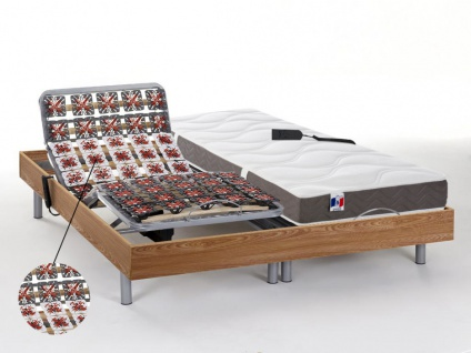 Matratzen elektrischer Lattenrost 2er-Set mit Tellermodulen 100% Latex JUPITER - OKIN-Motoren - Eichenholzfarben - 2x90x200cm