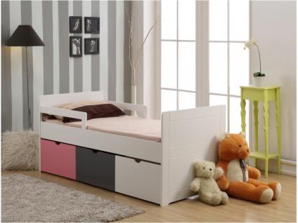 Kinderbett mit Schubladen PILOU + Lattenrost - 90x190cm - Rosa