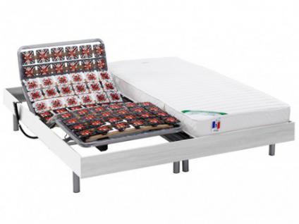 Matratzen elektrischer Lattenrost 2er-Set mit Okin-Motor HOMERA - Weiß - 2x90x200 cm