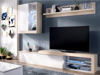 TV-Möbel TV-Wand mit Stauraum & LED-Beleuchtung AKABA