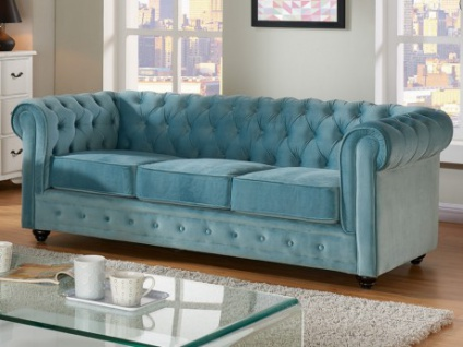 3-Sitzer-Sofa Chesterfield Samt ANNA - Blau