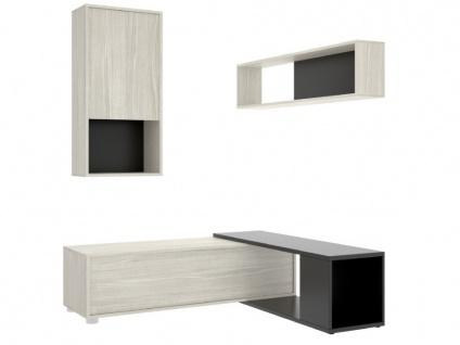 TV-Wand TV-Möbel mit Stauraum GAMBIE - Modulierbar - Anthrazit/Eichenholzfarben - Vorschau 5